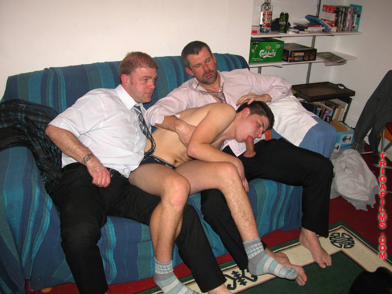 a blonde shemale and 2 gay males threesome outdoors