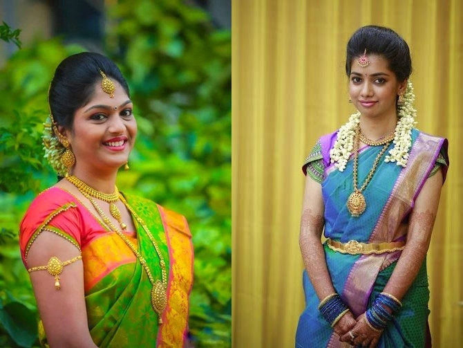 823afa58ef8373  22 Embellished sleeves and plain blouse neckline pattu saree blouse designs