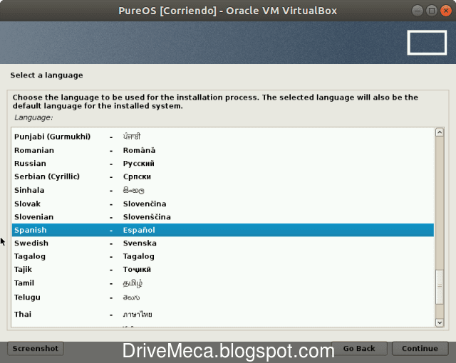 Seleccionamos el idioma de instalacion de PureOS