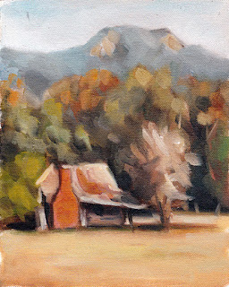Oil painting of a small derelict house with nearby trees and a distant mountain.
