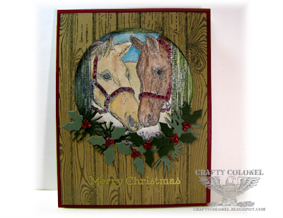 Crafty Colonel Donna Nuce for Shopping Our Stash Challenge, Impression Obsession horse stamp, SU Hardwood, Christmas Card