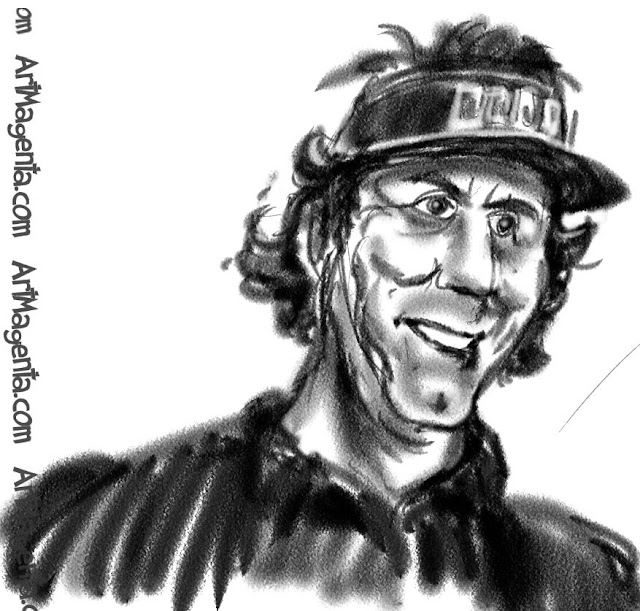 Phil Mickelson caricature cartoon. Portrait drawing by caricaturist Artmagenta