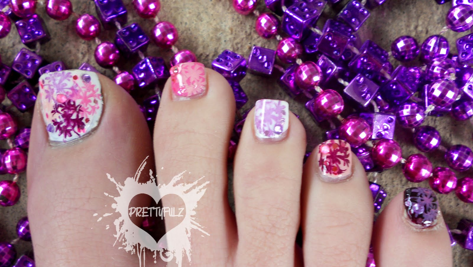Prettyfulz Spring Time Pedicure Nail Art Design Bedding Inspired
