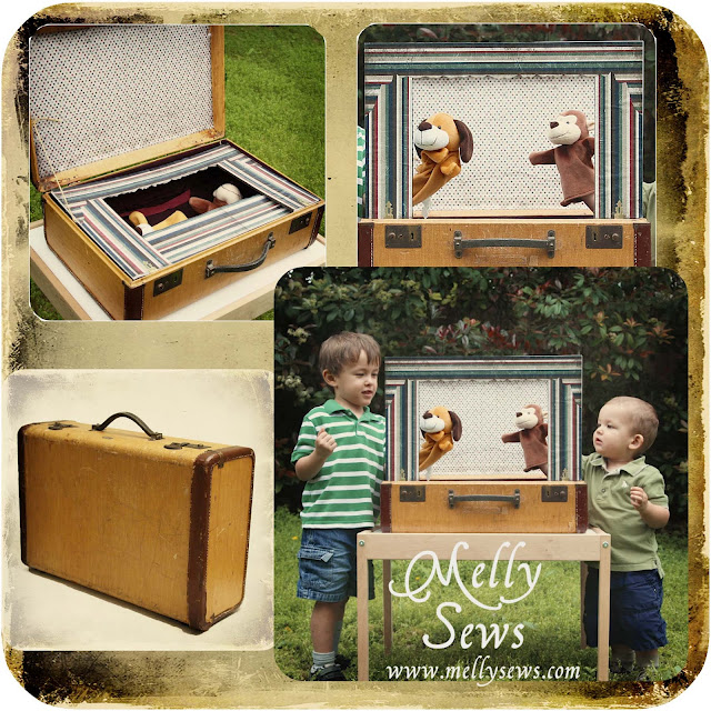 This vintage suitcase used as a puppet show for kids is adorable.