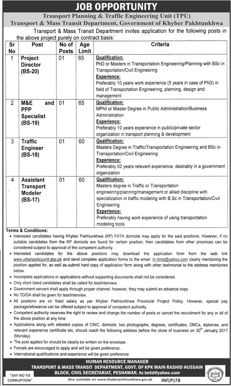 Transport & Mass Transit Department KPK Peshawar Jobs 2017
