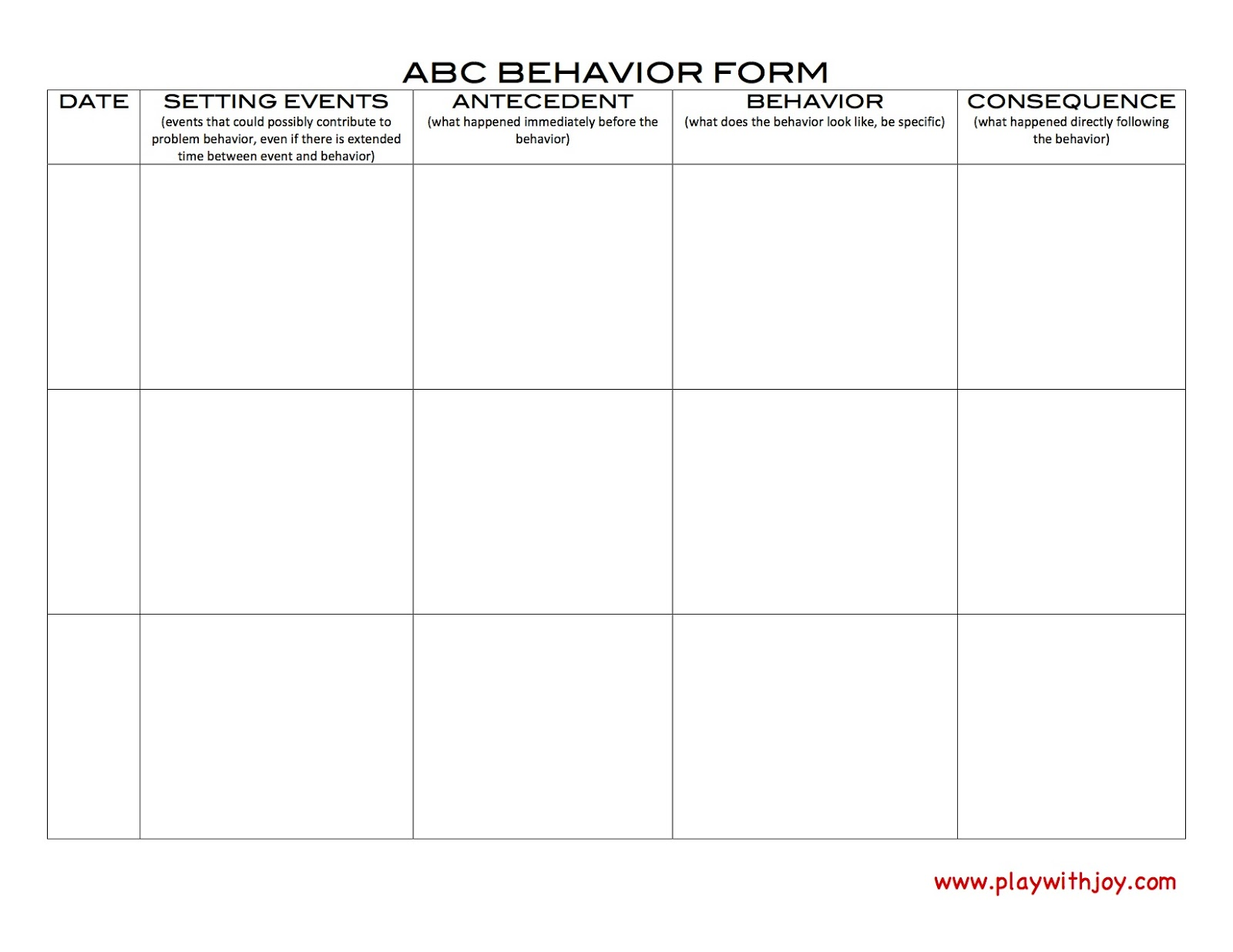 Play with joy llc june 2013 for Abc behaviour chart template