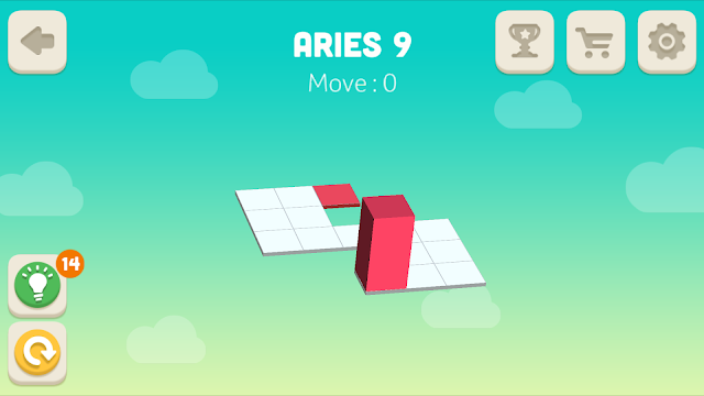 Bloxorz Aries Level 9 step by step 3 stars Walkthrough, Cheats, Solution for android, iphone, ipad and ipod