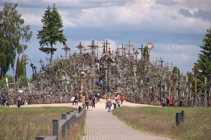 The Hill of Crosses, Kryziu Kalnas, located in city of Siauliai, Lithuania. Standing upon a small hill are many hundreds of thousands of crosses that represent Christian devotion and a memorial to Lithuanian nation indentity.