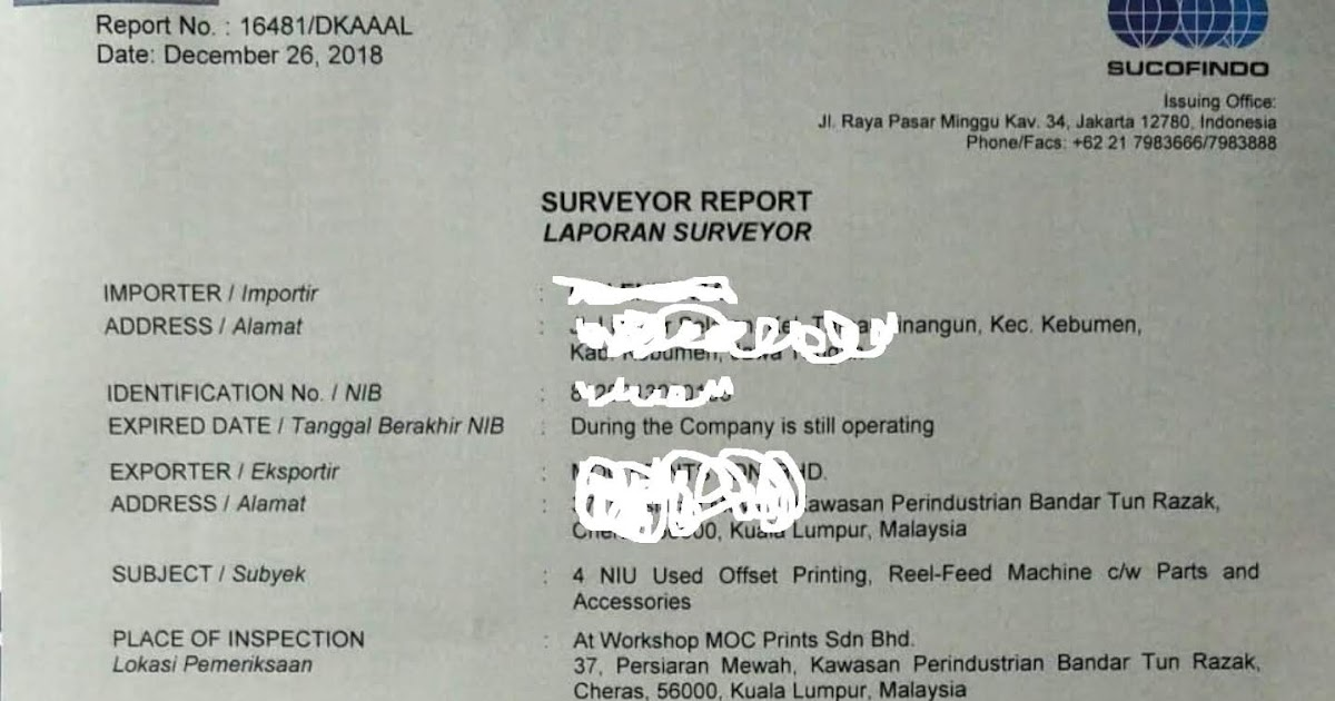 Certificate Of Inspection Laporan Surveyor Sucofindo Indonesia Serta Kso Sucofindo