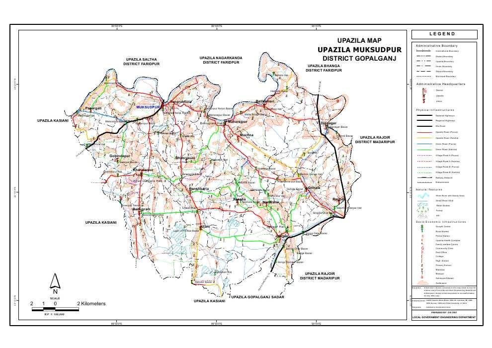 Muksudpur Upazila Map Gopalganj  District Bangladesh