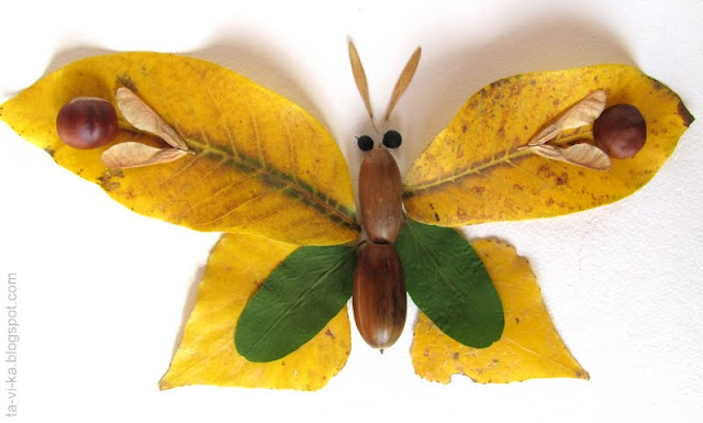бабочки из осенних листьев butterfly fall craft