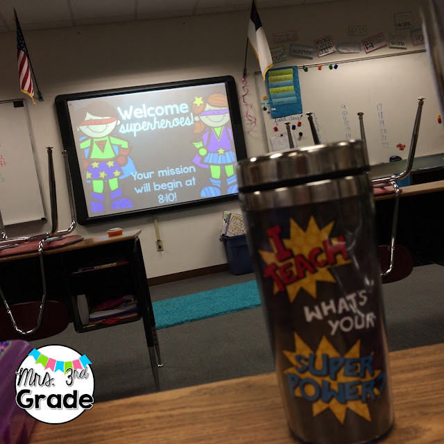 Adding a fun morning message will help build the excitement before the day begins!  Of course having a great coffee mug to match is always a plus!