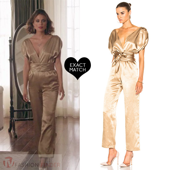 96ec4e7361f5 Nathalie Kelley as Cristal Flores in gold silk jumpsuit carolina ritzler  luisa and glitter pumps jimmy