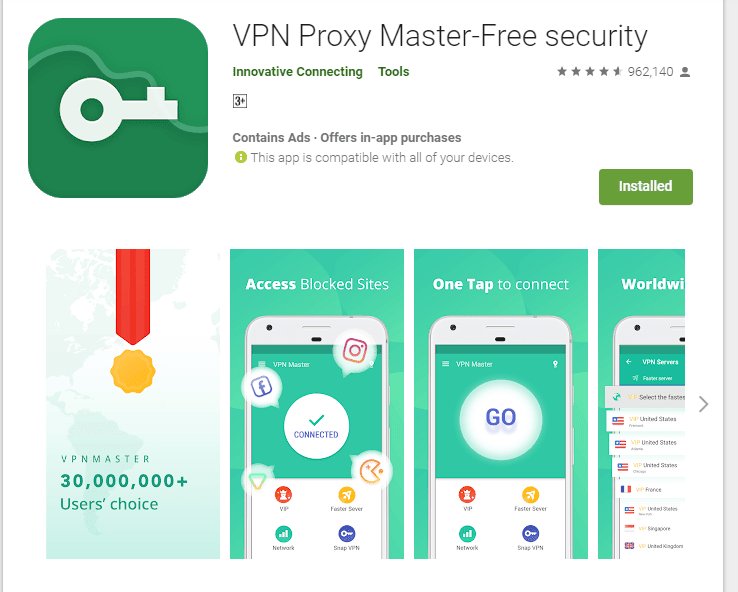 Aplikasi Android VPN Master di Google Play