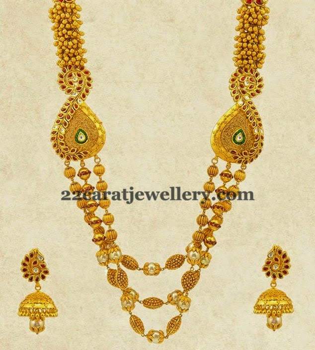 Gundla Mala With Kundan Jhumkas Jewellery Designs