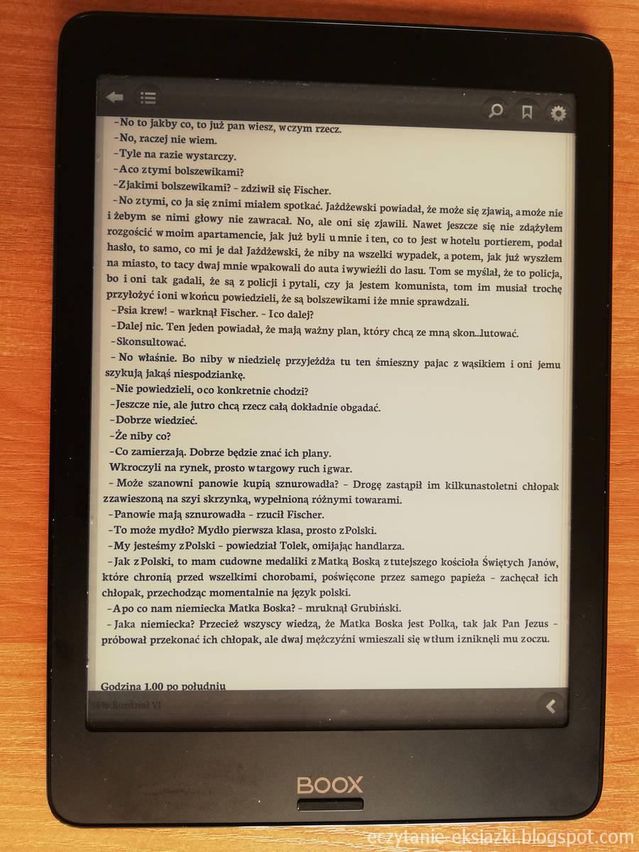 Widok menu e-booka w aplikacji Legimi na Onyx Boox Nova