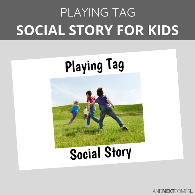 Printable social story for kids with autism about how to play a game of tag
