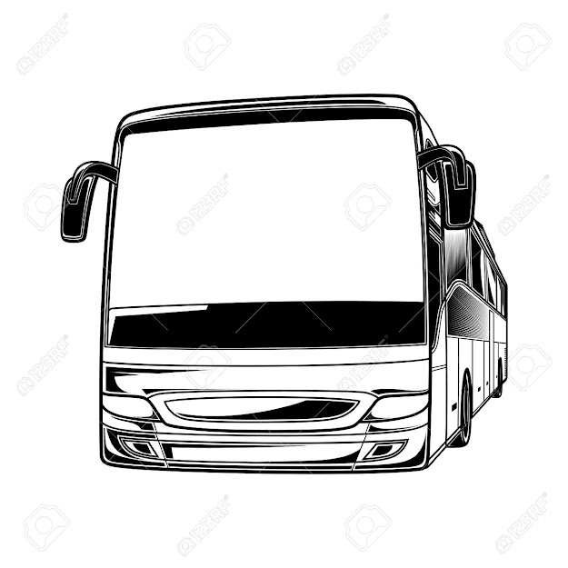 Big Vector Black And White Transport Car Bus Travel Traffic Tourist Stock  Vector