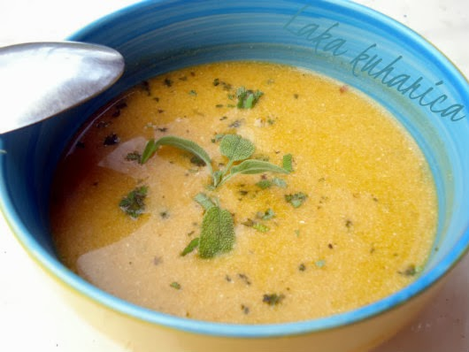 Pumpkin soup with wine by Laka kuharica: smooth, refined and aromatic soup with a hint of wine.
