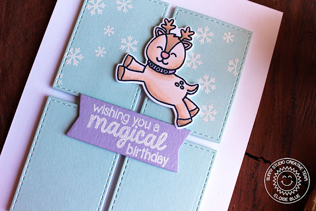 Sunny Studio Stamps: Gleeful Reindeer Magical Birthday Card by Eloise Blue.