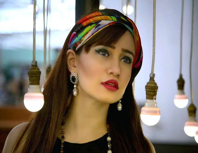 Shazé Accessories, Jewelry, Head Scarf, Red Lipstick,Girl posing in between bulbs, pearl drop earrings,