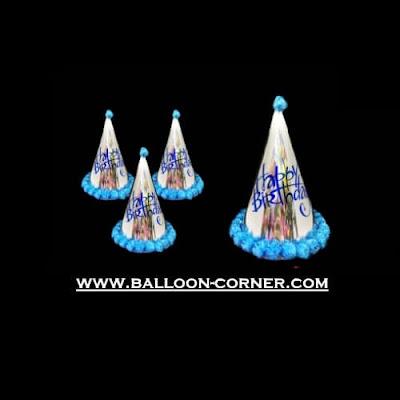 Topi Ulang Tahun Anak Kerucut Metalik Pom Pom (Biru)
