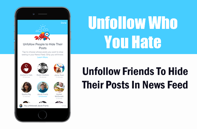 Unfollow friends who you hate and hide their posts from news feed.