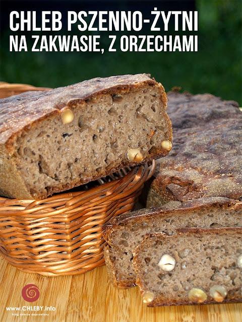 Pszenno-żytni chleb na zakwasie z orzechami