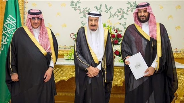Saudi King Salman bin Abdulaziz Al Saud relieves Crown Prince Mohammed bin Nayef bin Abdulaziz Al Saud with his own son, Mohammed bin Salman Al Saud, the deputy crown prince and defense minister