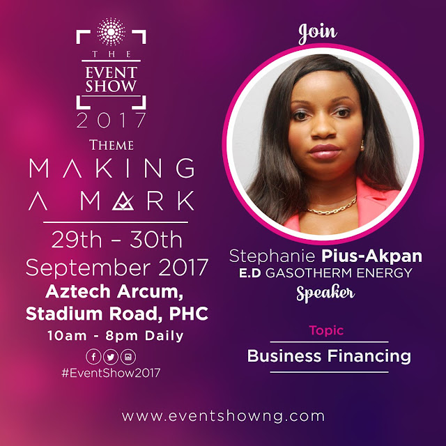 CONFIRMED: Stephanie Pius-Akpan, E.D Gasotherm Energy. #TheEventShow2017