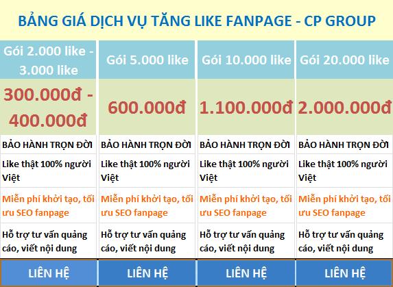 bảng giá dịch vụ tăng like fanpage
