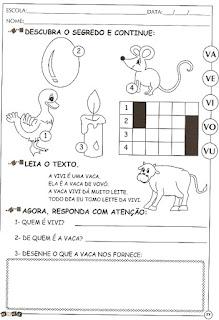 Atividades alfabetização com a letra V