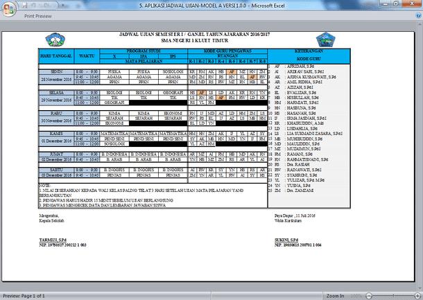 Kode Jadwal Pengawas Ujian Sekolah