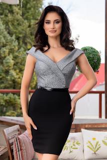 Rochie scurta, neagra si argintie pentru femei cu forme
