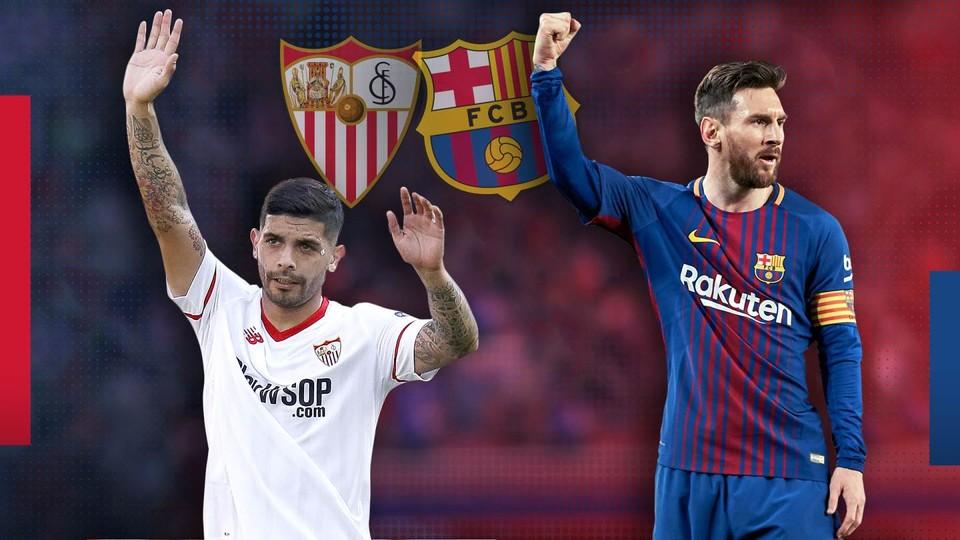 مباراة برشلونة واشبيلية ربع نهائي 30-1-2019 كاس ملك اسبانيا