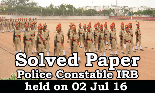 Kerala PSC - Police Constable IRB 2016 Solved Paper held on 02 Jul 2016