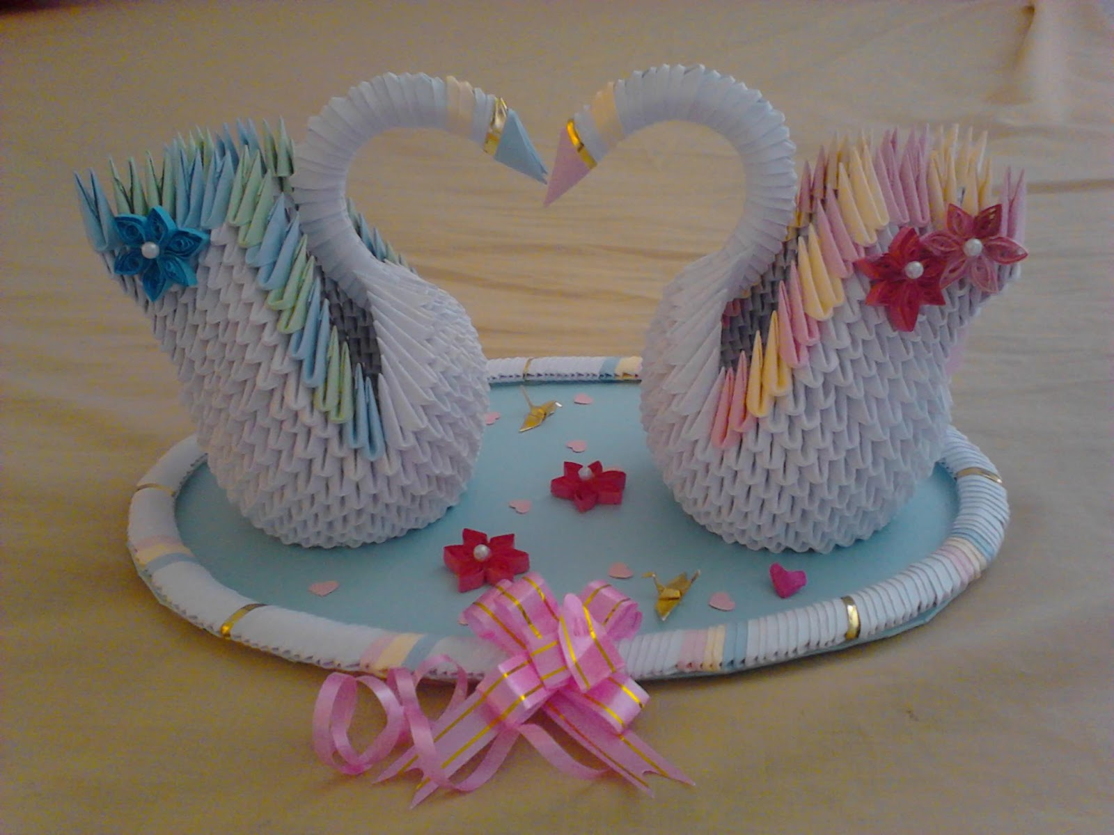 Jewellia handicrafts: 3D origami wedding swans - photo#15