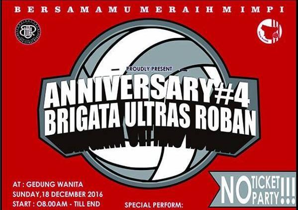 Event Batang |  18 Desember 2016 | Anniversary #4 Brigata Ultras Roban