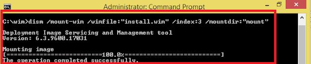 Gunung gambar install.wim . Perhatikan jumlah itu setelah indeks parameter tergantung pada Windows 7 versi yang Anda menginstal ! Pilih nomor sesuai dengan daftar di bawah ini.