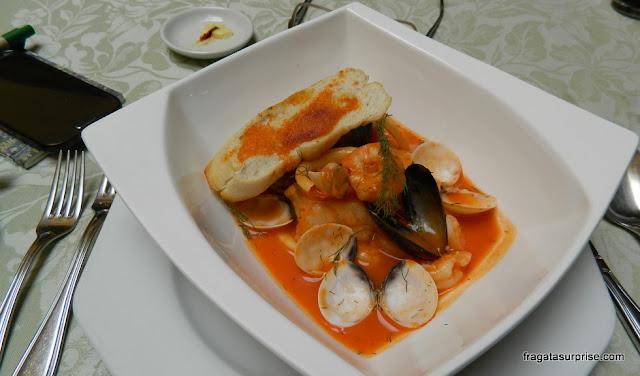 Sopa de Mariscos do Restaurante La Scala, no Hotel de la Ópera, Bogotá