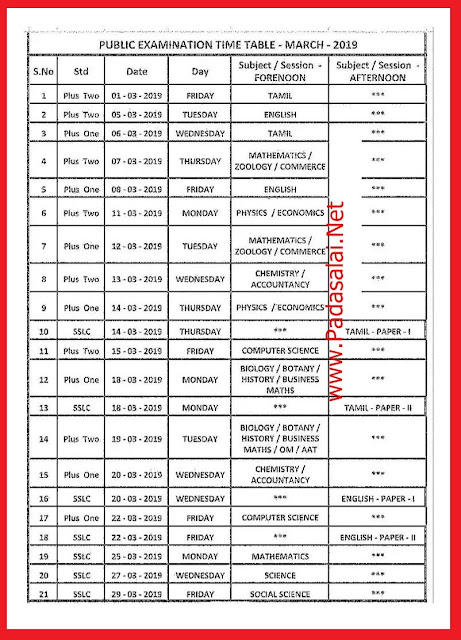 12th Public Exam Time Table 2019 Tamilnadu Schools