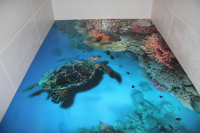 3D bathroom flooring murals art