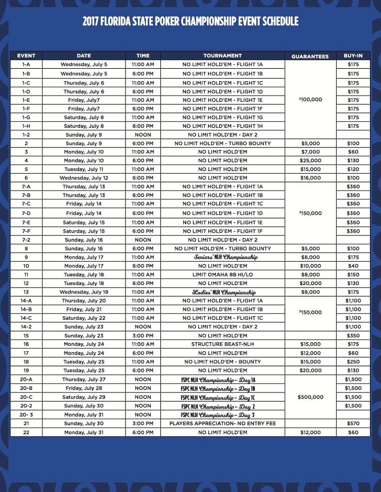 Isle Poker Tournament Schedule