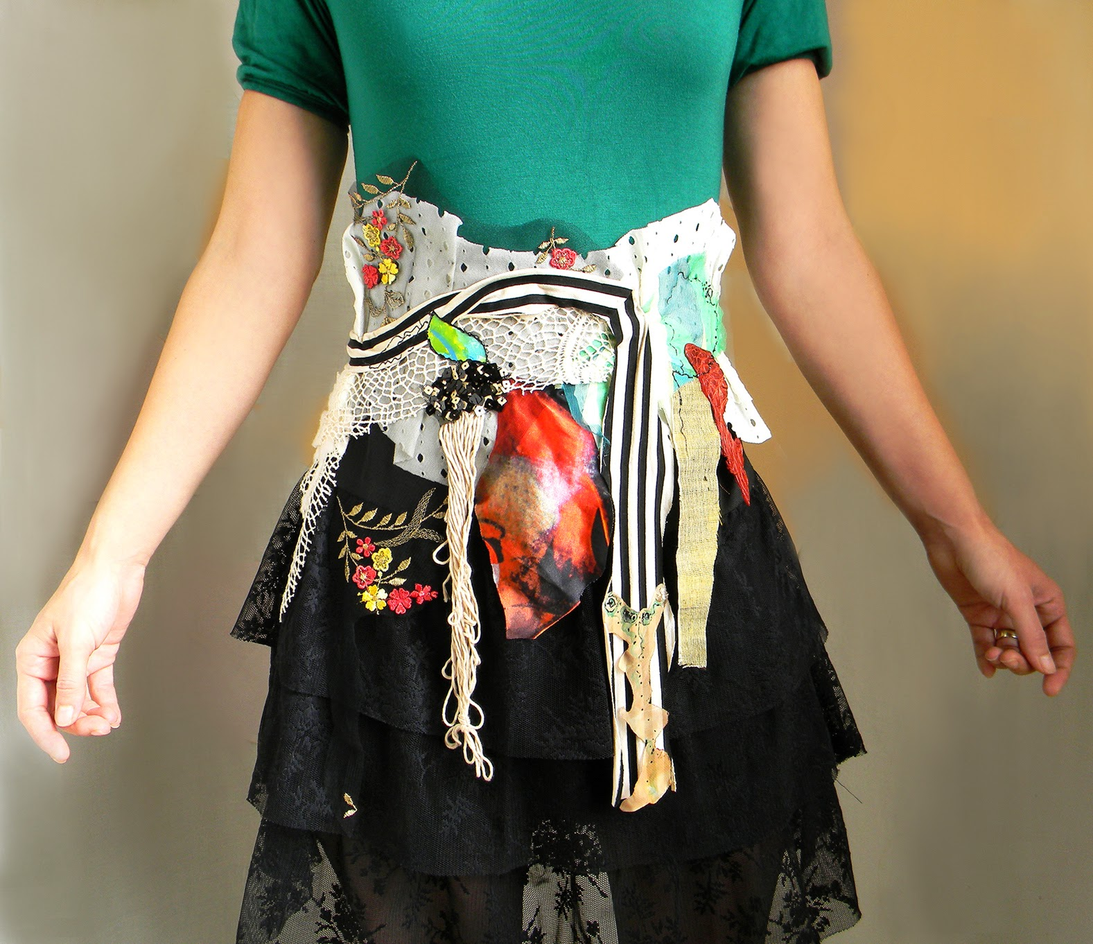 Patchwork Waist Belt Gypsy Collage Sash Wide Textile Belt