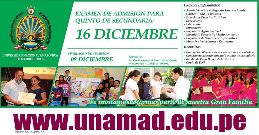 Resultados UNAMAD 2019-1 (16 Diciembre) Lista Ingresantes Primera Oportunidad - Examen Admisión Especial 5to. Secundaria - Universidad Nacional Amazónica de Madre de Dios - www.unamad.edu.pe