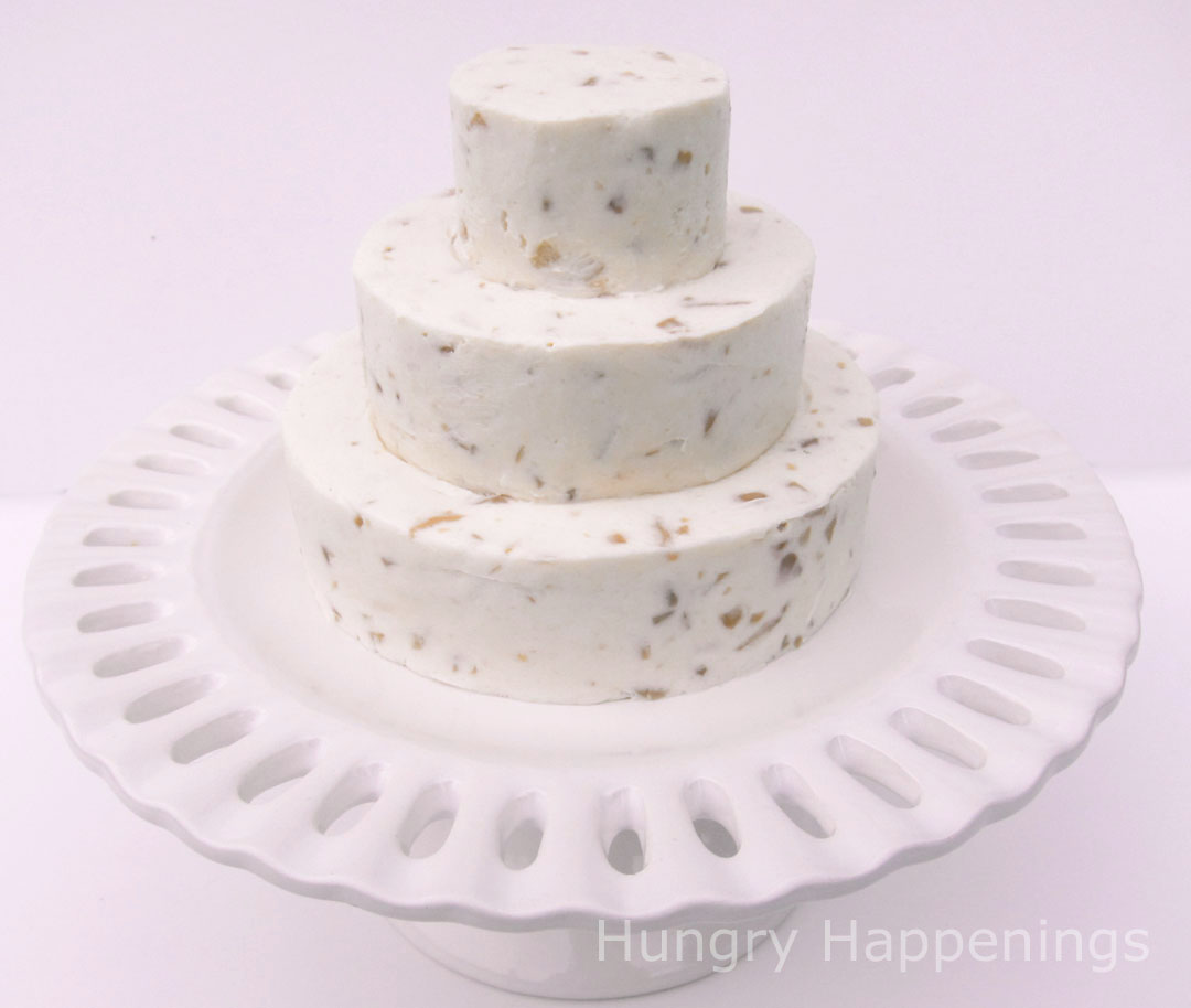 Cheese Ball Wedding Cakes   Elegant Appetizer   Hungry Happenings cheese ball wedding cake put together
