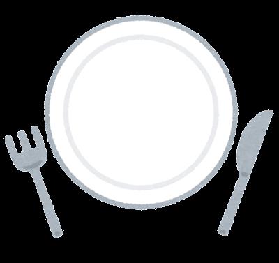 皿とナイフとフォークのイラスト
