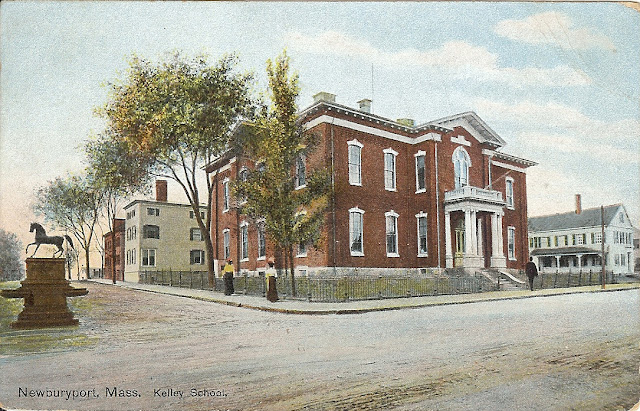 Taggart Fountain, Kelly School, Newburyport, Massachusetts, postcard