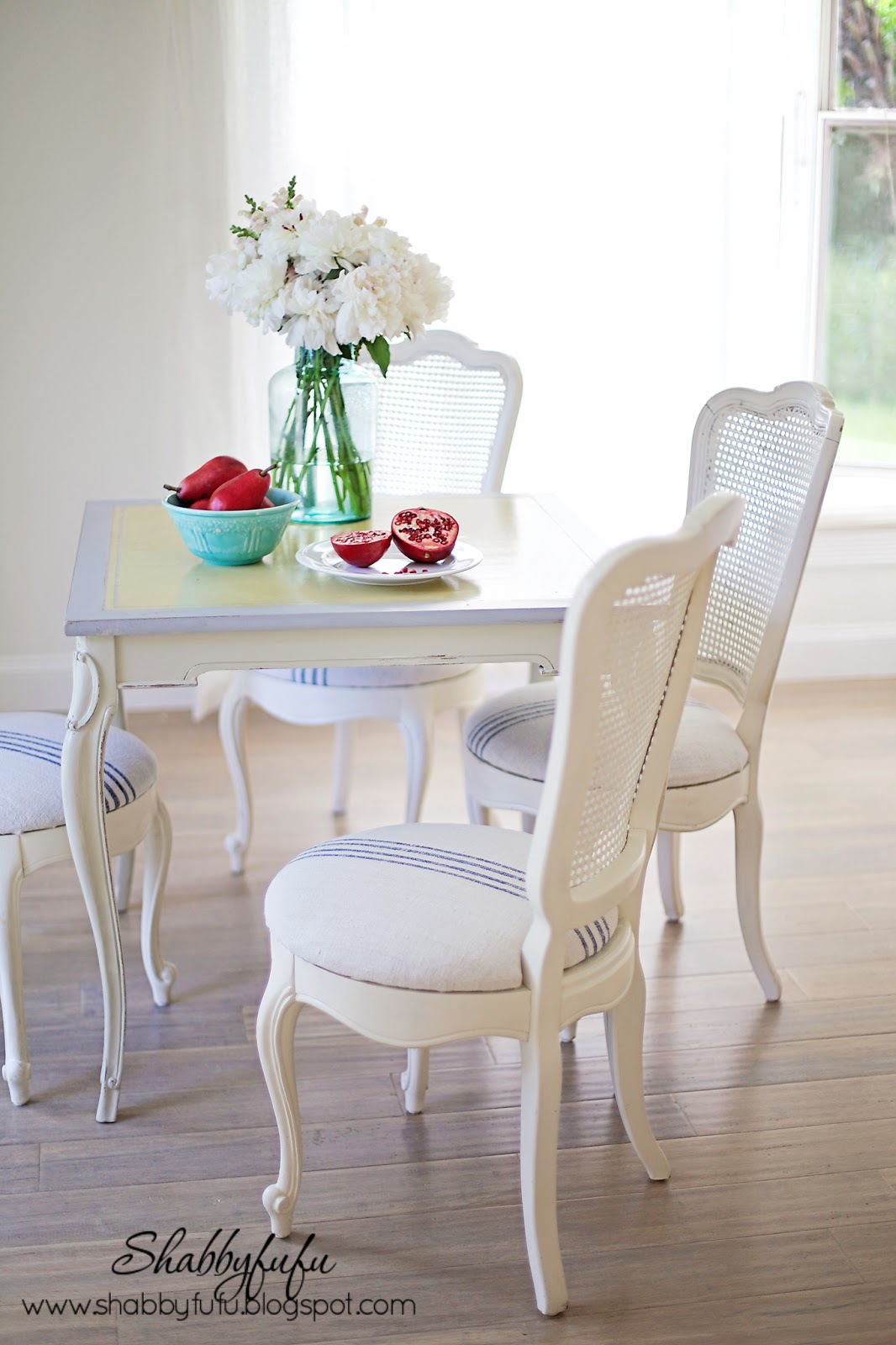 french caned chairs with grainsack
