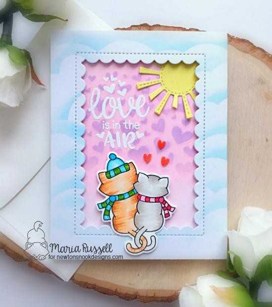 Love is in the Air Card by Maria Russell | Newton's Christmas Cuddles and Uplifting Wishes Stamp Sets by Newton's Nook Designs #newtonsnook #handmade